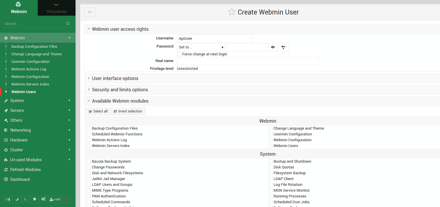 Create Virtualmin API user