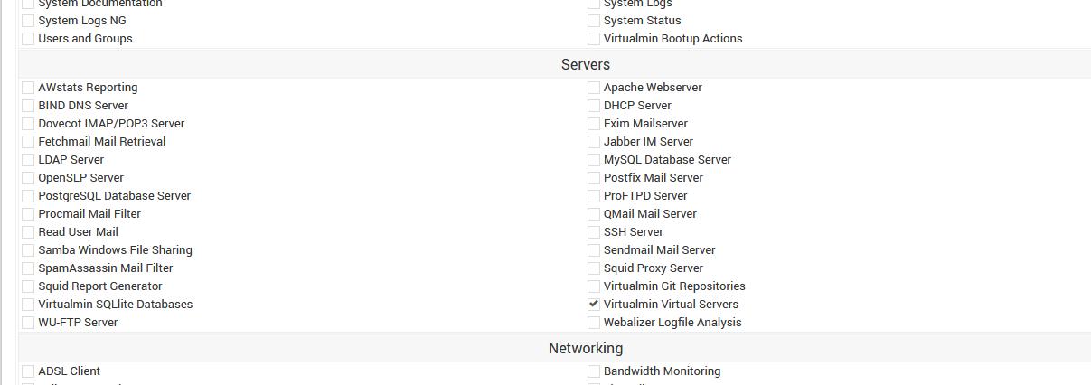 Virtualmin API user permission