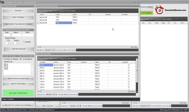 Cloudflare API Console - Advanced mode bulk add