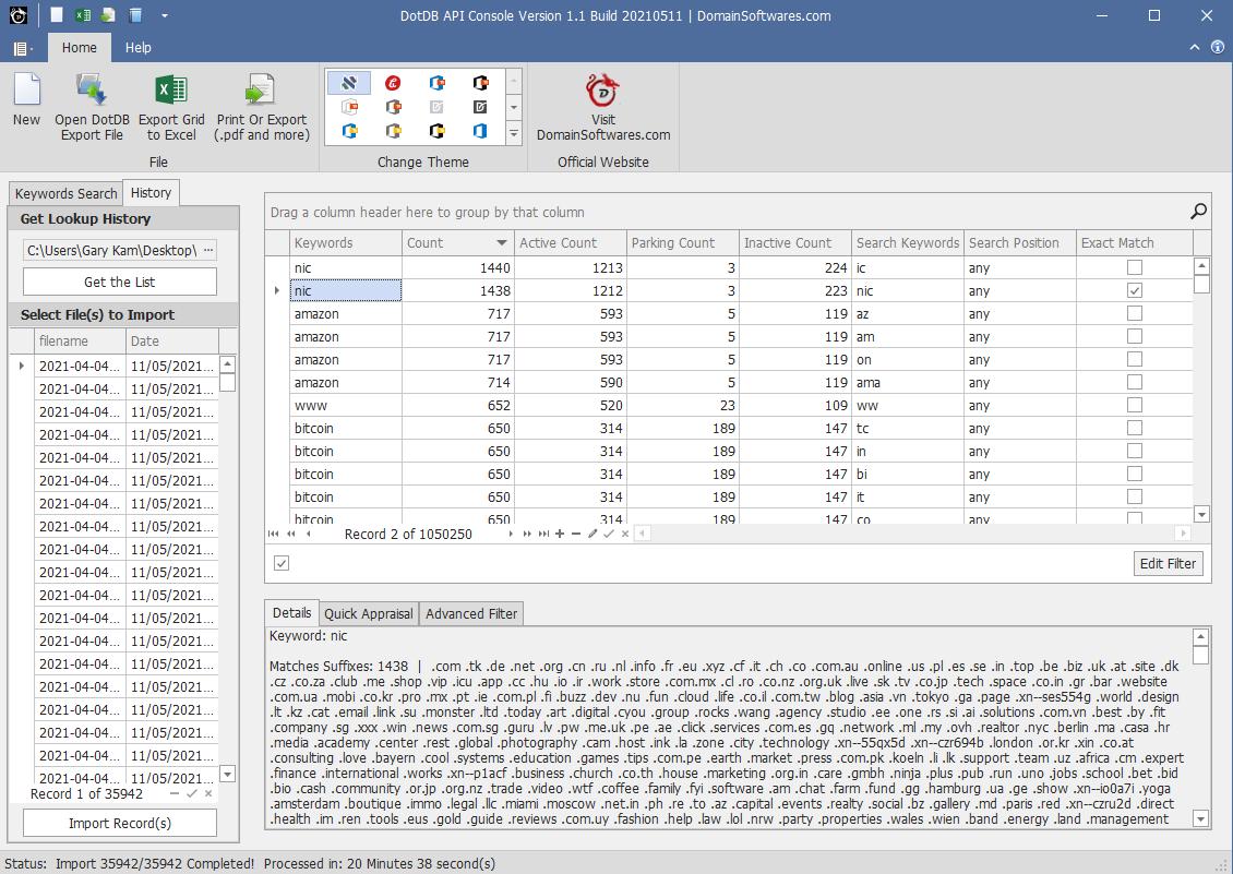 DotDB API Console 1.1 Import back Records