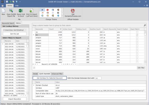 DotDB API Console 1.1- Quick Domain Appraisal (lookup Govalue)