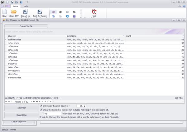 DotDB API Console - CSV Viewer Filtering Results