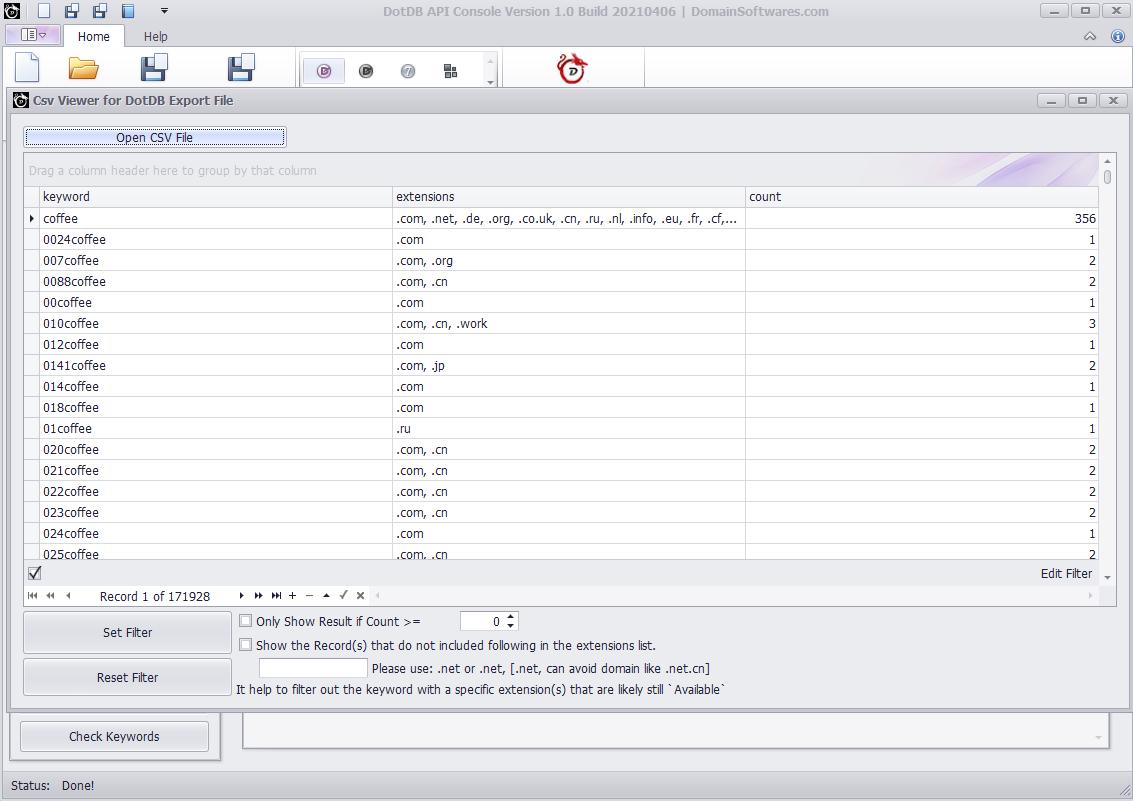 DotDB API Console - CSV Viewer Import Data