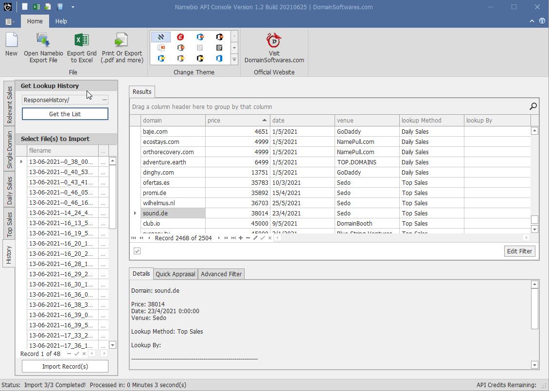 Namebio API Console - Import View