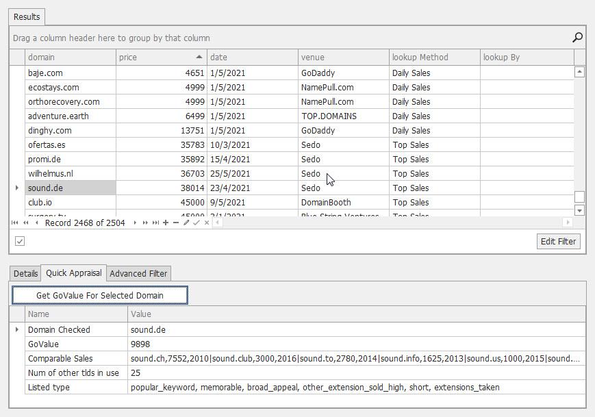 Namebio API Console - Quick Appraisal