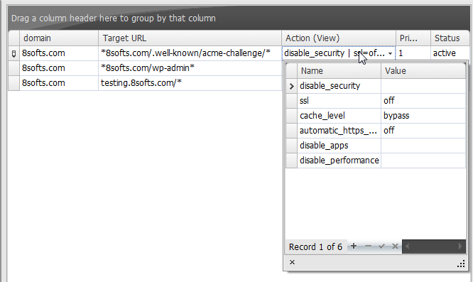 Cloudflare API Console - PageRule Details View