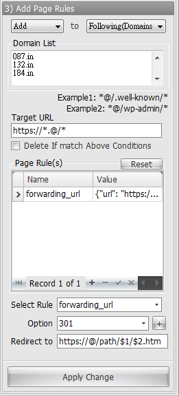 Cloudflare Page Rule - Url Forwarding wildcard matches